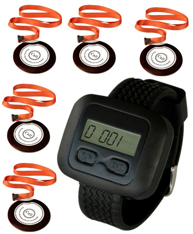 Nurse call system,5pc emergency call button with necklace for patient,old person call nurse,1 watch pager,wireless paging system