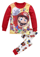 Free Shipping Spring Autumn Baby Girls Boys Mario Pajamas Children cartoon Sleepwear Kids Pyjamas Toddler Nightwear Pijamas Sets