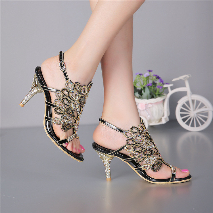 2016 Summer New Women's Luxury Diamond Female Handmade Sandals And Slippers Stiletto Shoes High Heels Size 11