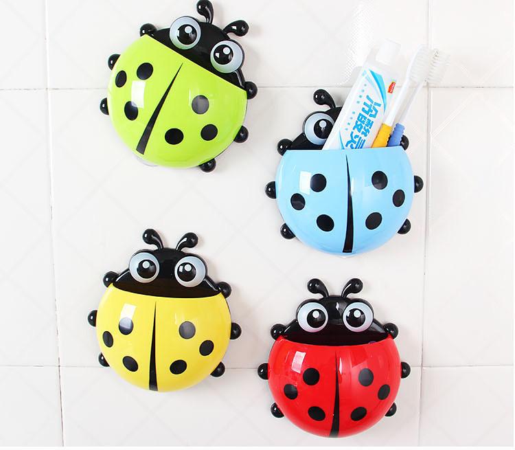 Cute Ladybug Cartoon Sucker Toothbrush Holder suction hooks / Household Items / toothbrush rack / bathroom set Hot 2015(China (Mainland))