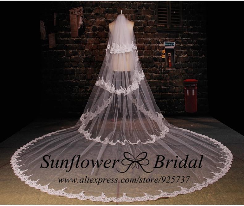2015 Vestido Де Noiva 4 Слоя Края Шнурка Собор Длинные Свадебные Фата Белое Свадебное Покрывалами Свадебные Аксессуары Фата Длинные