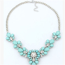 Statement Necklaces New Design Female Multicolor Resin Rhinestone Necklaces & Multi-layer Chain Pendants luxury jewelry dz421-2(China (Mainland))