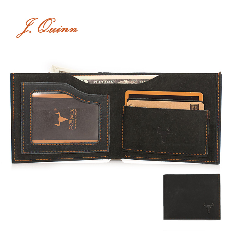 J.Quinn Short Wallet Men Real Leather Wallets Black Bifold Casual Card Brown Mens Small New 2016 Handmade Walet For Credit Cards(China (Mainland))