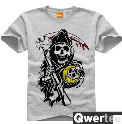Free Shipping Round Neck Cotton Sons of Anarchy T-Shirt Sons of Anarchy Skull Tees Top(China (Mainland))