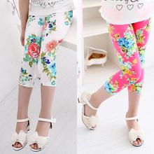 Hot summer 2015 kids new arrive 7th fashion girls leggings print flowers girls pants childrens trousers