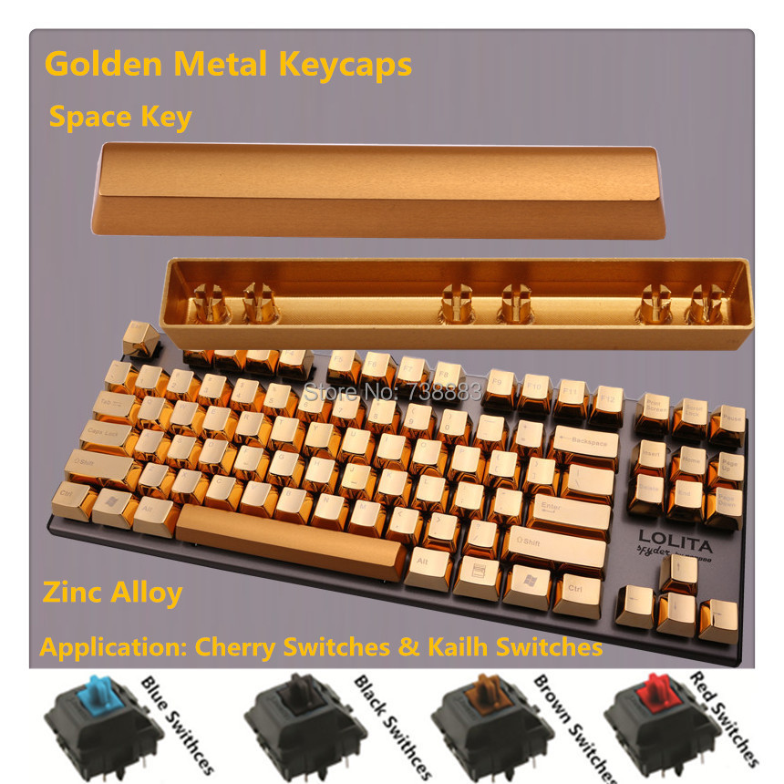 Brand New Metal Keycap Golden Space Key For Cherry MX Black Blue Brown Red Switches Mechanical Gaming Keyboard(China (Mainland))