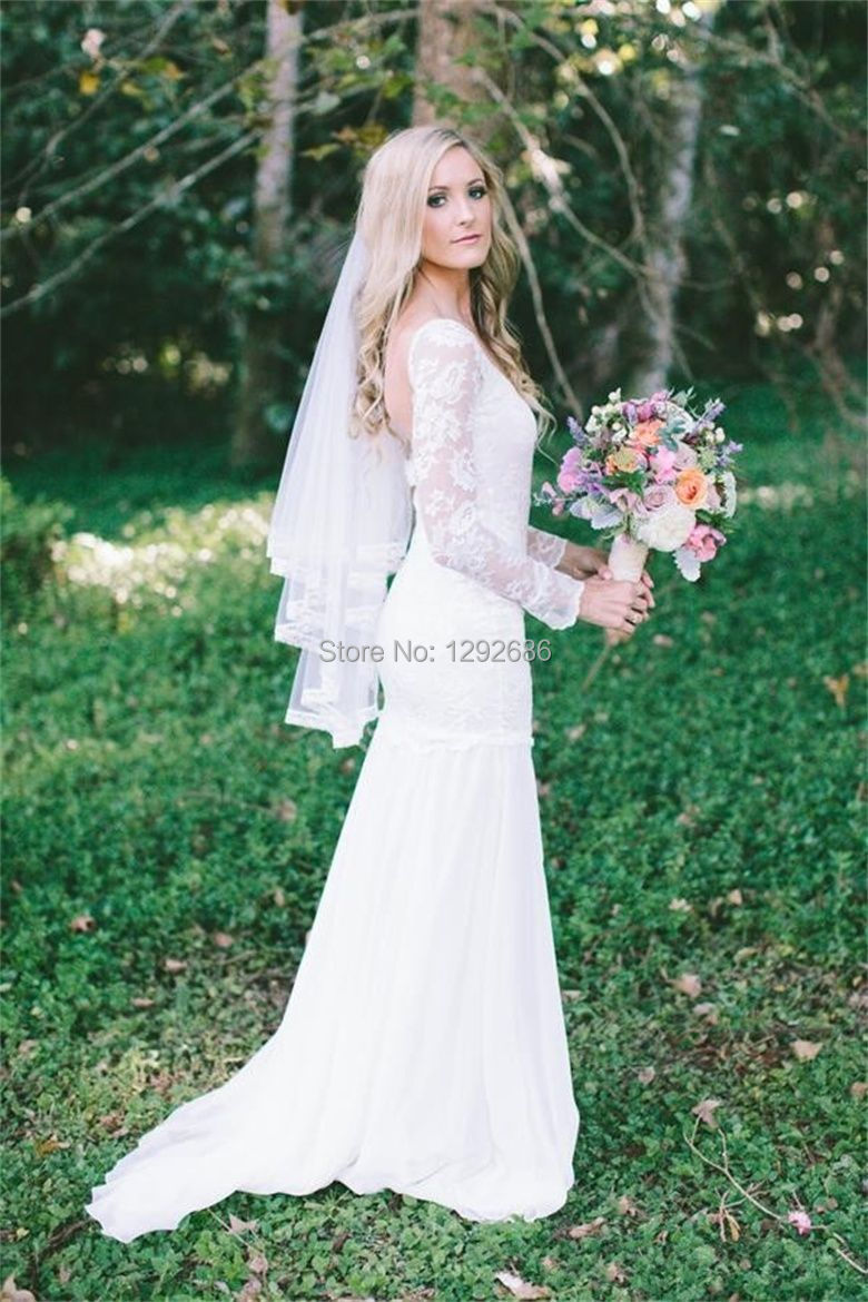 Long Sleeve Sheath Lace Mermaid Wedding Dress Sexy Mermaid