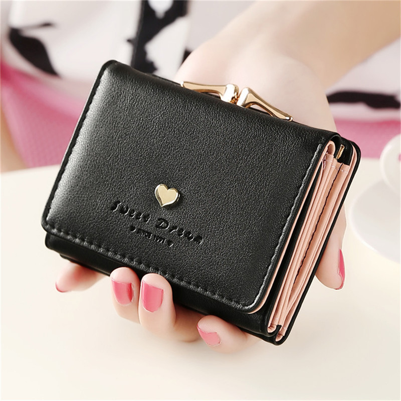 Solid Vintage Candy Color Women Wallet Fashion Small Female Purse Heart Pattern Mujer Femininas short wallet purse(China (Mainland))