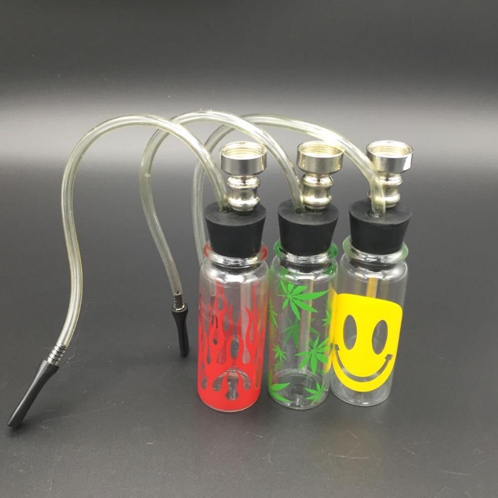 New Colors Mini Water Pipes Hookah Bar Glass Tube Shisha Health Tobacco Green Marijuana Leafs Smoking Pipes Smile Face Red HOT(China (Mainland))