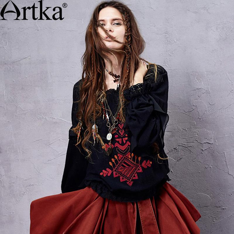 Artka Womens Spring Retro Ethnic Bohemian Loose Embroidery Frilled Collar Elastic Cinched Waist Long Sleeve Shirt SA14151CÎäåæäà è àêñåññóàðû<br><br>