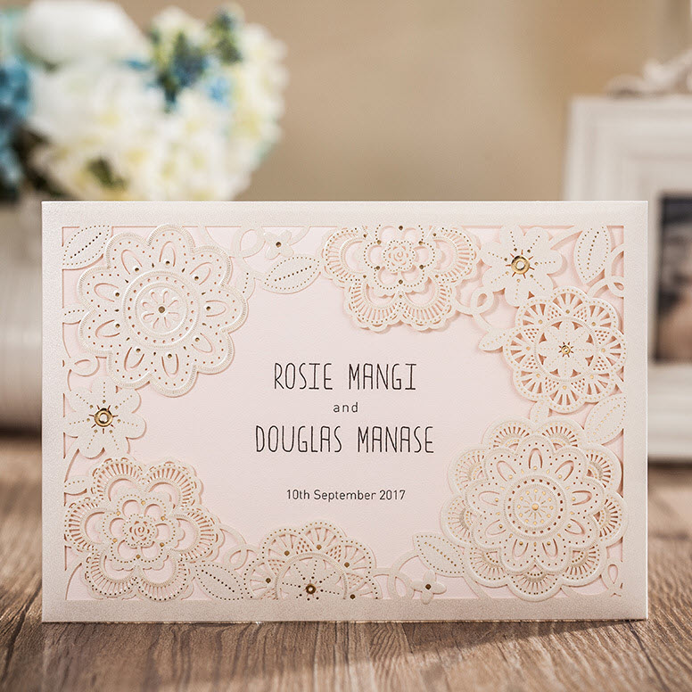 Classic White Laser Flowers with RSVP Wedding Invitation Card with Envelopes and Seal, Wholesale Available, New Arrival(China (Mainland))