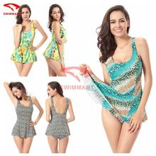 Allover-prints Sexy one piece swimsuits for women plus size XXXL Removable push up padding swimdress