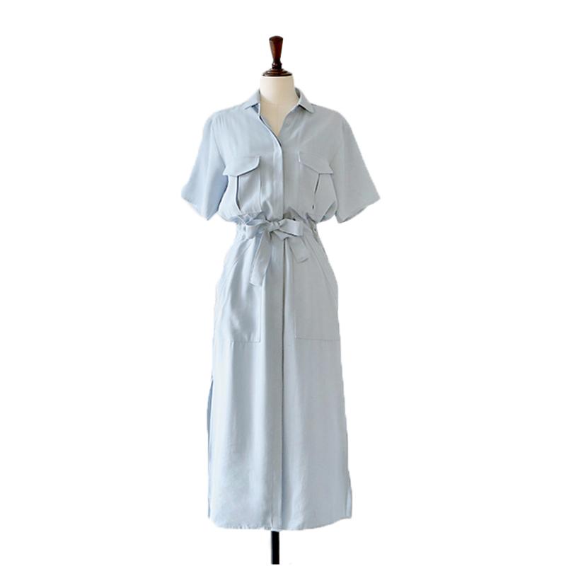 Women Long Shirts Dress Vestidos Bow Side Split Maxi Dress with Sashes Elegant Irregular Short Sleeve Summer Blouse Dress S-XXL(China (Mainland))