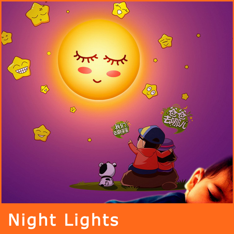 New 2014 baby bedroom led night lights lovely diy wall for Kids room night light