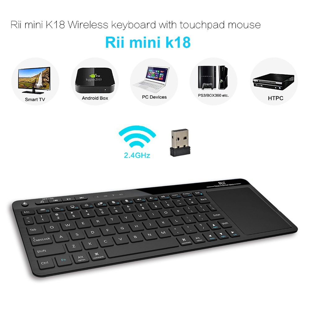 2016 New Original Rii mini K18 ultra slim 2.4Ghz RF Multimedia Wireless Keyboard with Touchpad mouse for PC HTPC Android TV Box(China (Mainland))