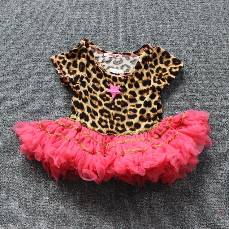 6pcs/lot, summer short sleeve leopard baby girls tutu dress kids pettiskirt  fashion girls tutu dress<br><br>Aliexpress
