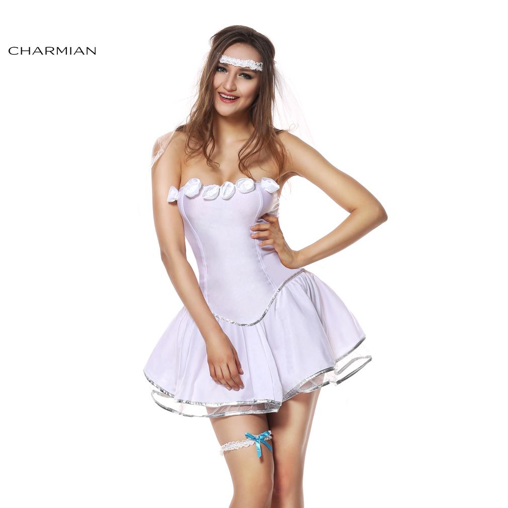 Charmian Women's Sexy Bridal Costume White Mini Dress Fairy Carnival Cosplay Halloween Costume Fantasias Feminina Para Festa(China (Mainland))