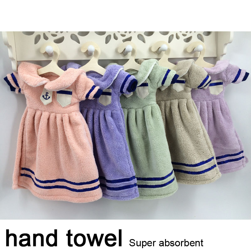 free shipping 5PC/LOT Hanging Hand Towel Quick-Dry poleyster Soft Coral Fleece kitchen Towel high absorbent bath towel wholesale(China (Mainland))