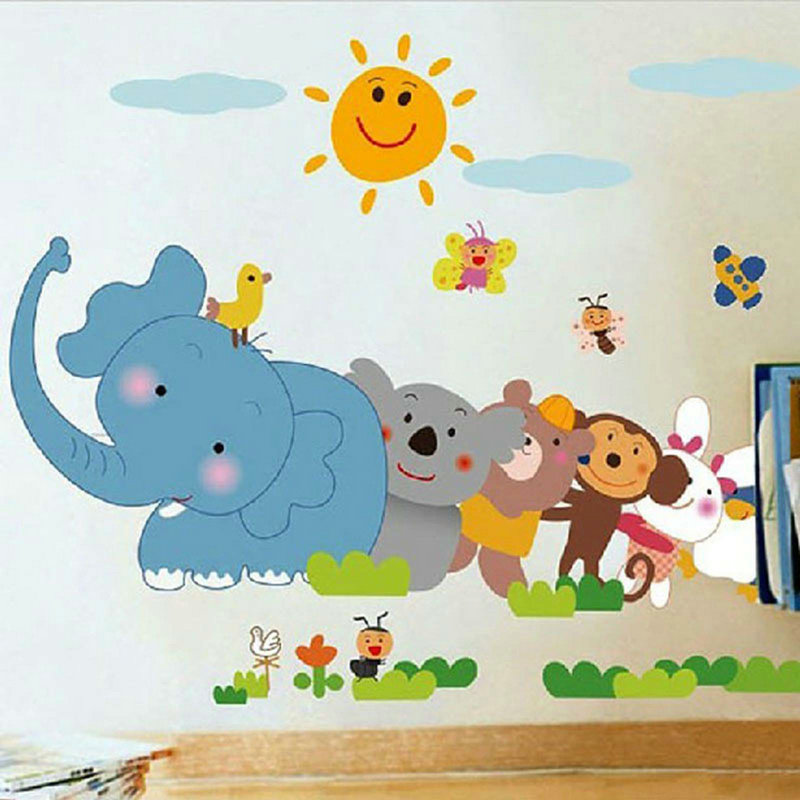 Colorful Cartoon Animal World Baby Room Kindergarten Decal Healthy Wall Sticker(China (Mainland))