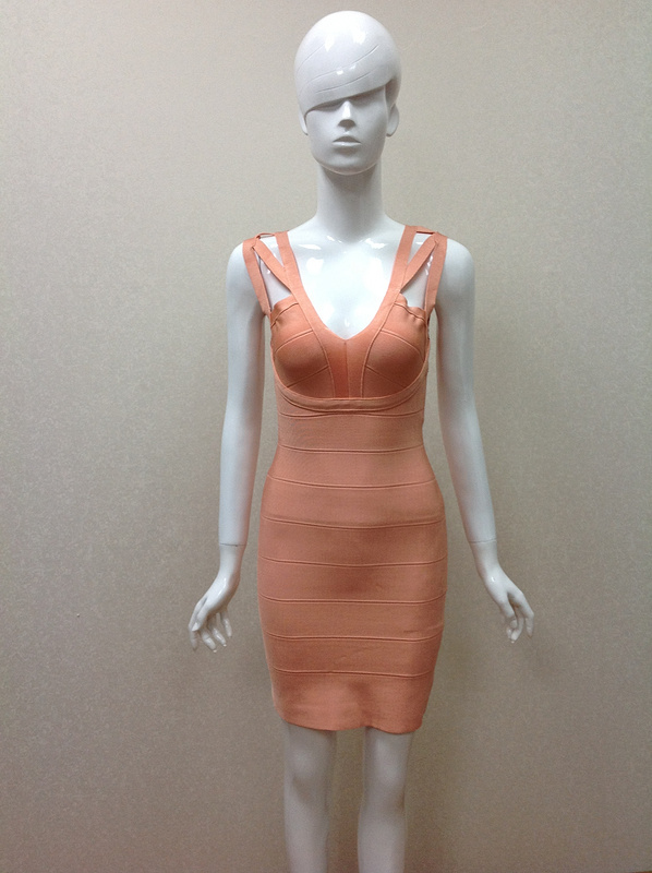 2015 New Top Quaility Women Orange V Neck Sleeveless Hollow Mini Bandage Dress Casual Party Bodycon Dresses - Fashion Factory store