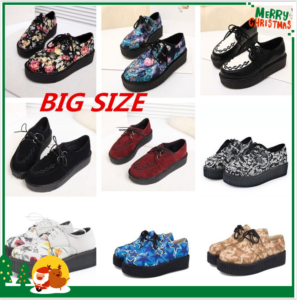Plus Size 35-41 Creepers Platform Shoes Woman Flats Shoes Female Creepers Shoes Footwear Women Shoes Black R02(China (Mainland))