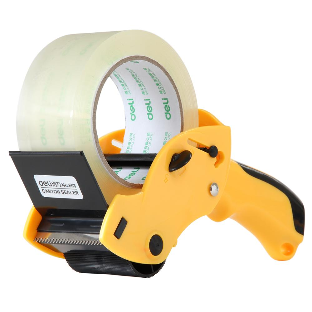 portable carton sealer premium tape cutter durable sharp sawtooth tape packing device Deli 803(China (Mainland))