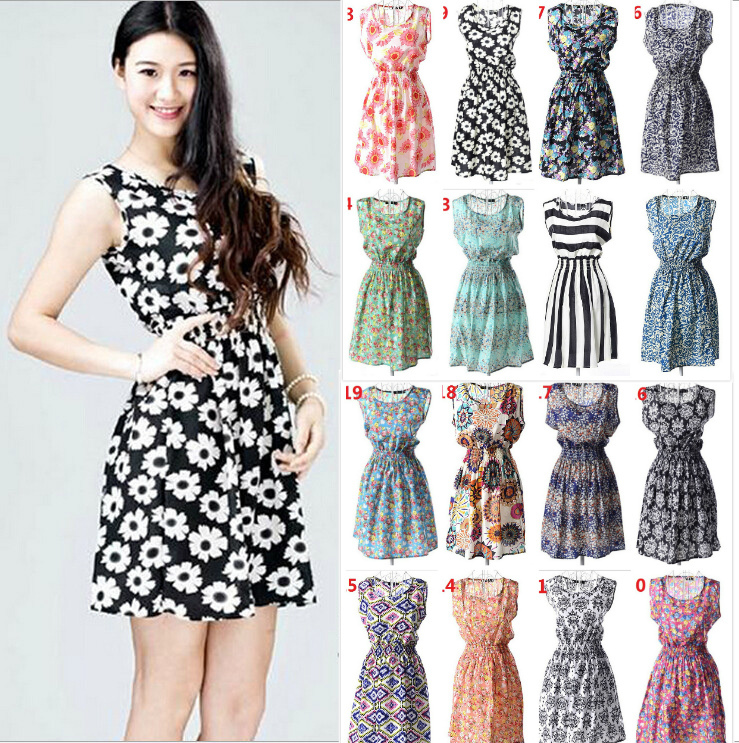 19 Styles Hot Sale Trend Printed Chiffon Tank Dresses For ...