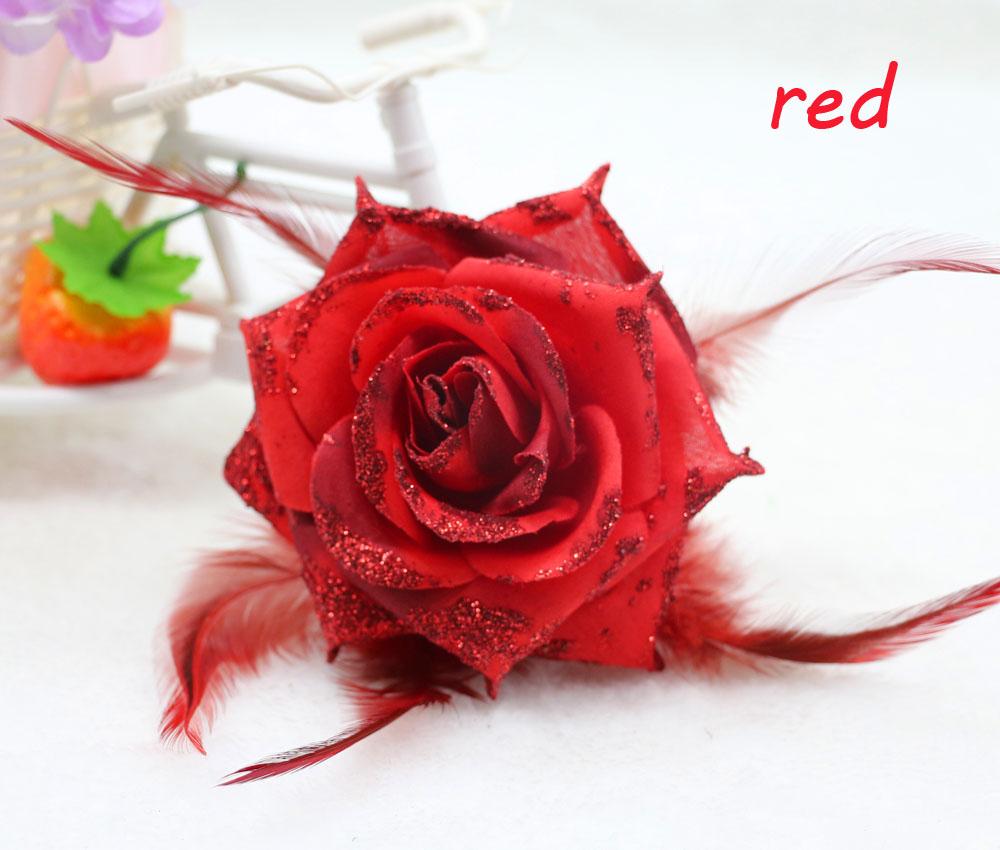 1PCS NEW Red Rose Corsage Glitter Headdress Flower Feather Fascinator Hairband Brooch WRIST Flower(China (Mainland))