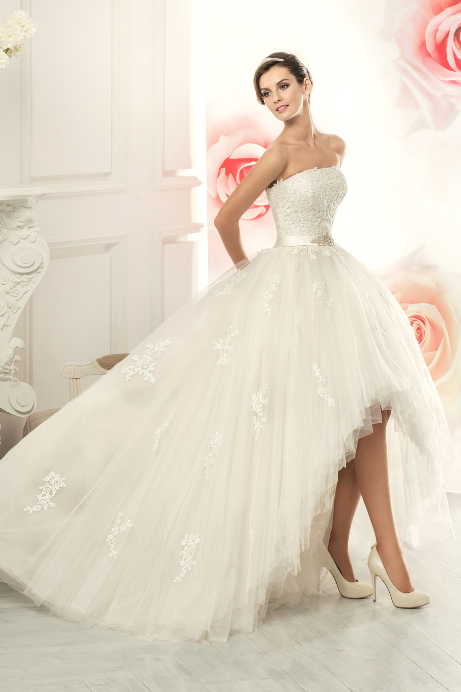 New Style Strapless Lace Appliques Front Short Long Back Wedding Dress 2015(China (Mainland))