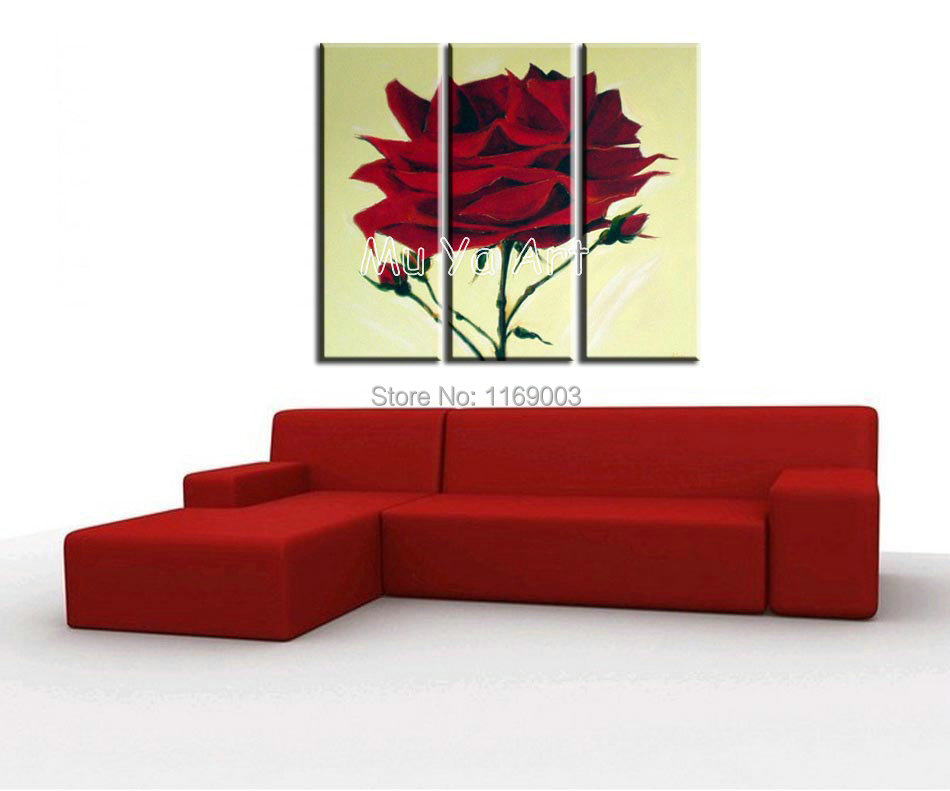Wall Art Canvas Red : Modern panel canvas wall art picture red handmade
