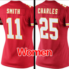 Women's #25 Jamaal Charles #11 Alex Smith Ladies Light Red Game 100% Stitched Logos Free shipping(China (Mainland))