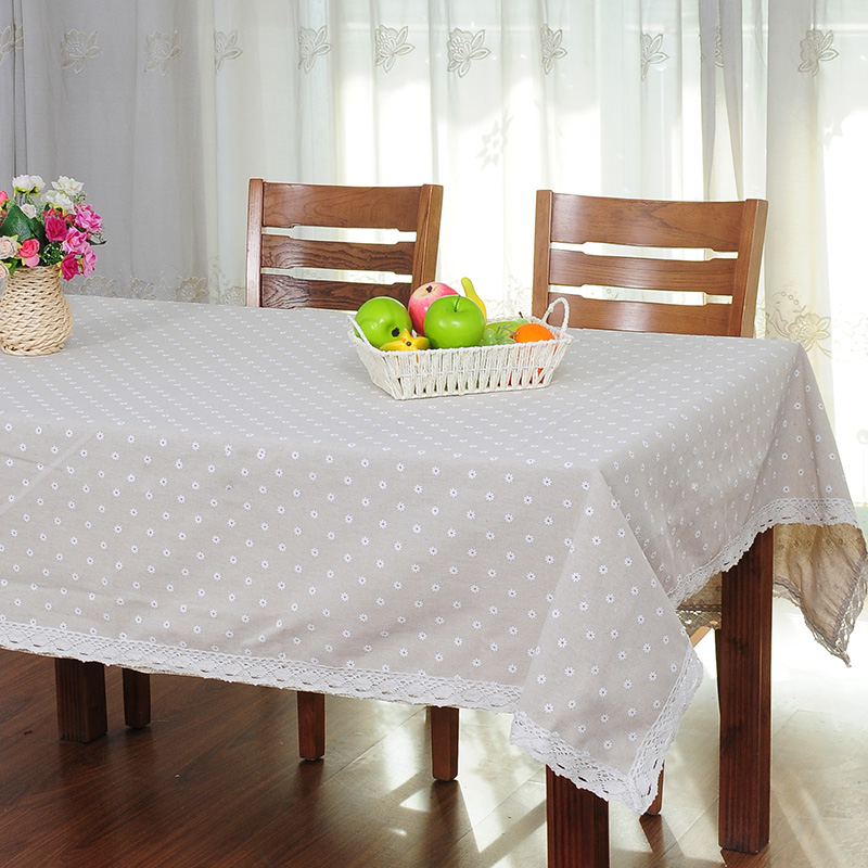 White daisy fluid fabric mat table cloth round table rustic coffee table tablecloth lace(China (Mainland))