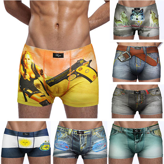 2015 New arrival Men Cotton Underwear Brand Boxer Fashion Funny Printed Shorts Hot Sale Sexy Cuecas Seamless Underpants 4Pcs/Lot(China (Mainland))