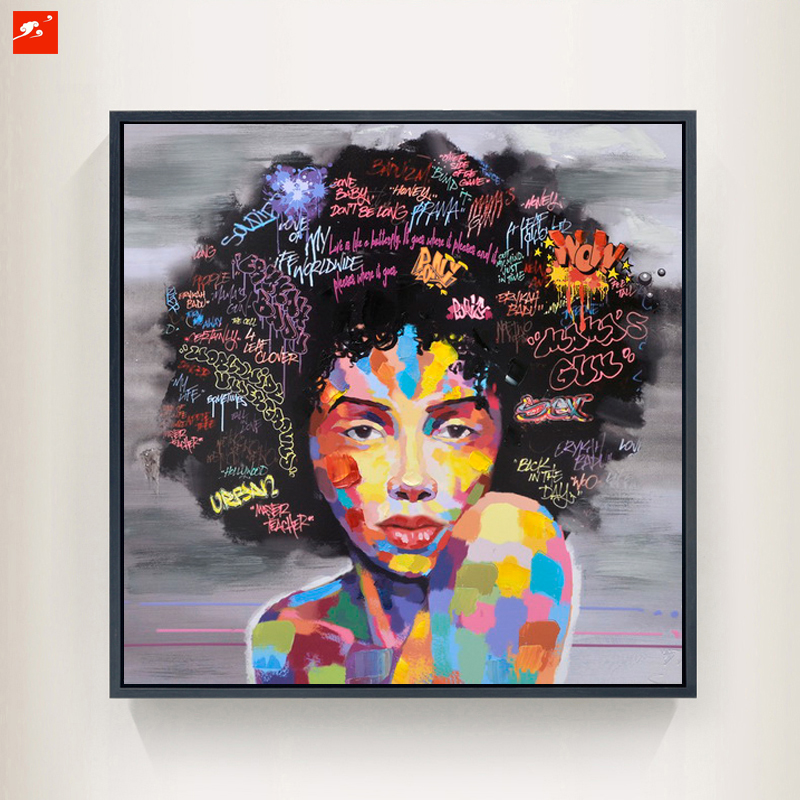 New Graffiti Street Wall Art Abstract Modern African Women Portrait Canvas Oil Painting On Prints For Living Room(China (Mainland))