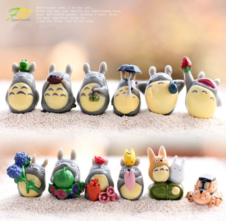 (12pcs/lot) my neighbor Totoro figure gifts doll resin miniature figurines Toys 1-3cm PVC plactic japanese cute anime151210(China (Mainland))
