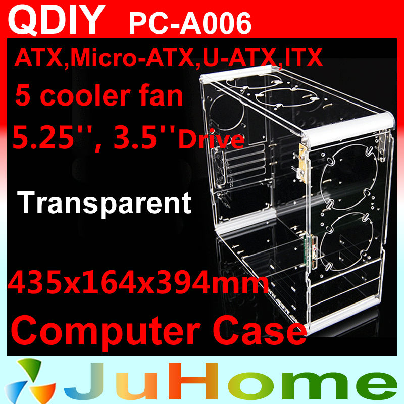 Transparent Computer case, 4mm Acrylic, suppot ATX, 5 fan, water-cooler, Vertical, personalized PC case, QDIY PC-A006(China (Mainland))