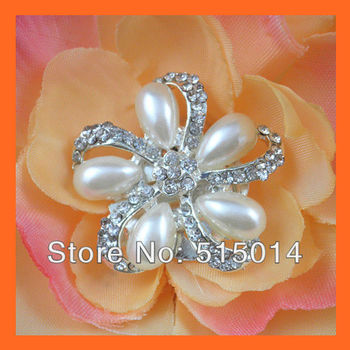Free Shipping ! 100pcs/lot 30mm Flower Pearl &Rhinestone Shoe Decoration with Clip,Rhinestone Cluster