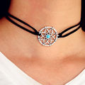 New Fshion Black PU Leather Dreamcatcher Choker Necklace Turquoise Silver Chokers for Women Party Jewelry Gift