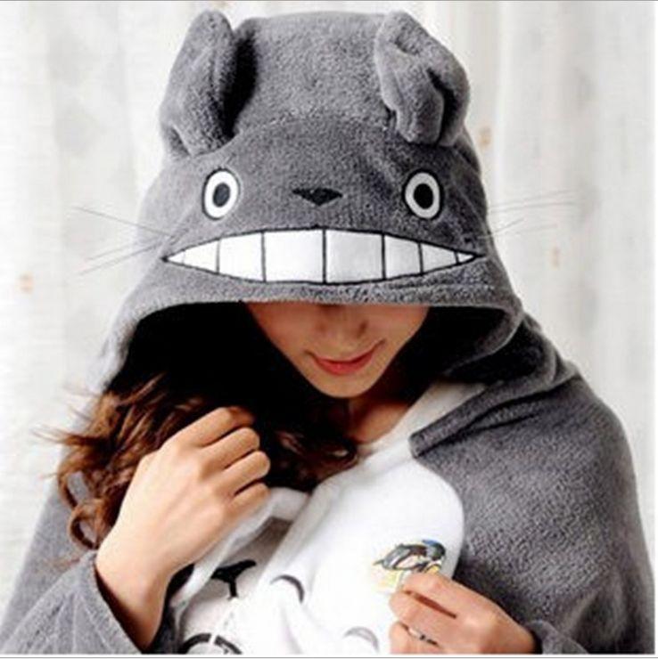 New Fashion My Neighbor Totoro Lovely Plush Soft Cloak Totoro Cat Cape Cartoon Cloak Coral Fleece Air-Condition Sofa TV Blanket(China (Mainland))