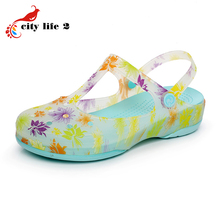 Summer Gradient Color Clogs For Women Hole Shoes Thick Soles Jelly Sandals Beach Garden Shoes Floral Print Slippers