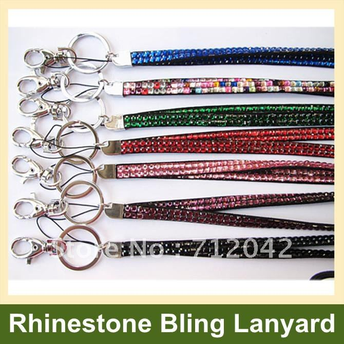 Fashion Bling Bling Crystal Rhinestone Lanyard with Claw Clasp ID Badge Holder for Cell Phone Drop Shipping(China (Mainland))