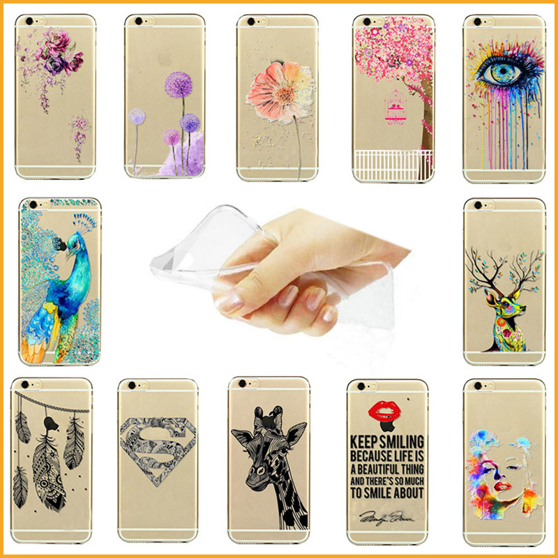 New Arrival Hot Selling Painted Flower Peacock Deer Eyes Design Soft Ultra Thin TPU Cases Cover Skin For iPhone 7 7 Plus XY4053(China (Mainland))