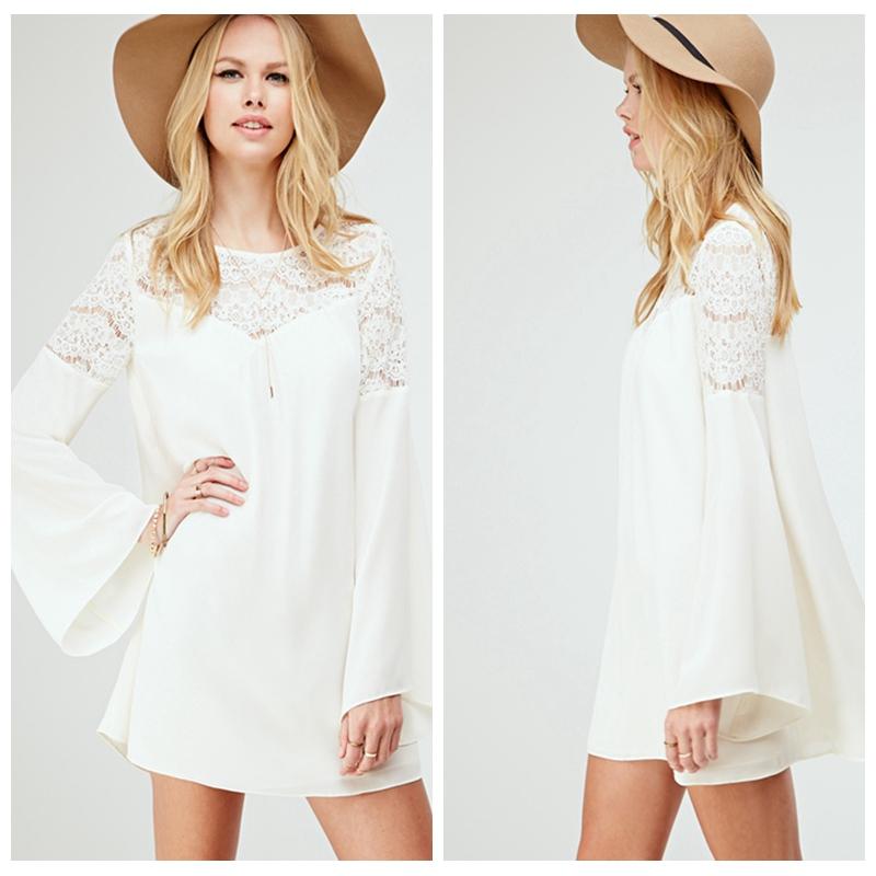 robe blanche courte manches longues la mode des robes de france. Black Bedroom Furniture Sets. Home Design Ideas