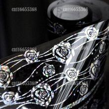 Nail Art Transfer Wrap Decal Black Silver Rose Vines pattern Decor Nail Art Art Transfer Foil