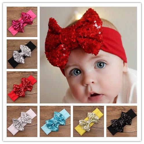 baby girls turbante elastic hair sequin bows turban headband headwear bands headbands band for hair accessories headwrap 2015(China (Mainland))