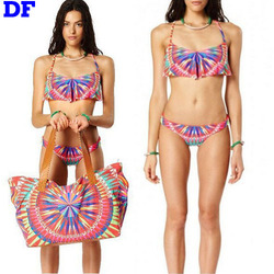 Rainbow Triangl Swimwear Bikini 2015 Fashion Women Swimsuit 2 Piece Swimwear Sexy Strap Swimsuit Women Bathing Suit Bikini Set L