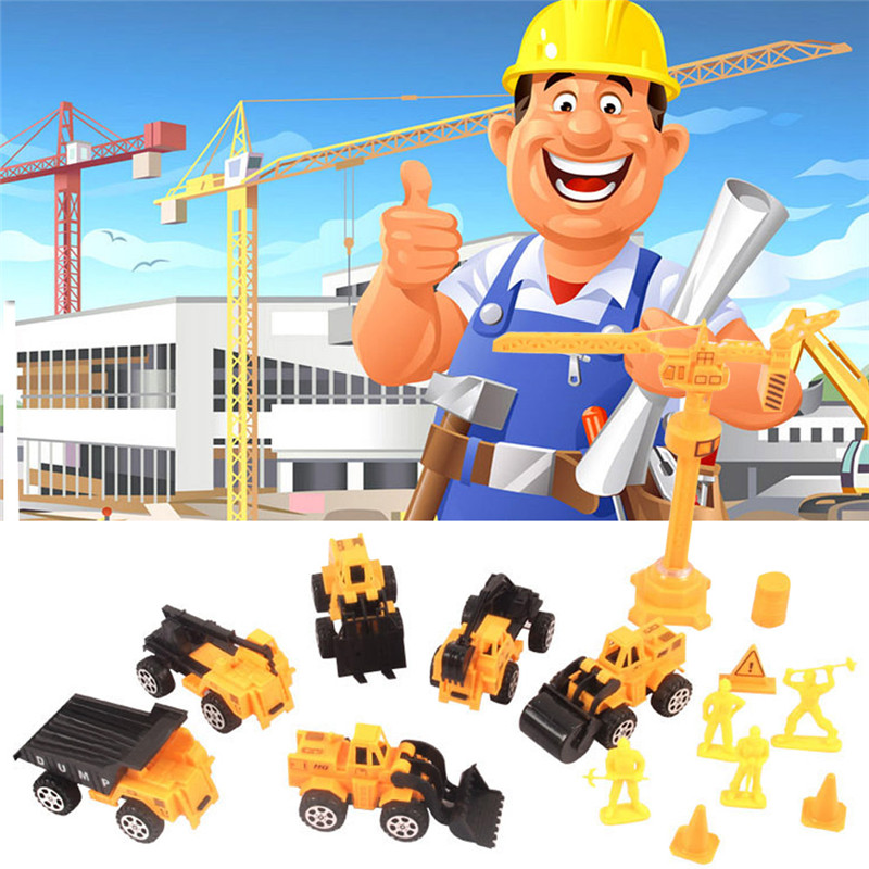 15pcs/lot Pull Back Emulational Engineering Car Vehicles Building Crane Kids Toy Excavator Bulldozer Cars Toy Diecast Car Model(China (Mainland))