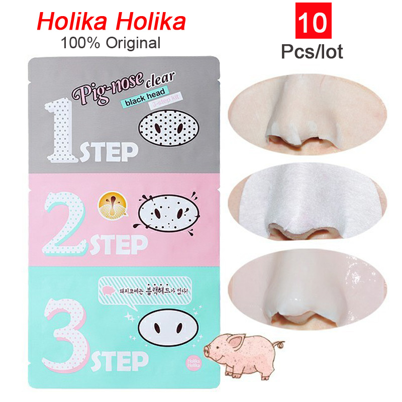 10pcs Holika Holiak Pig Nose Mask Remove Blackhead Acne Remover Clear Black Head 3 Step Kit Beauty Clean Cosmetic Accessory C035(China (Mainland))
