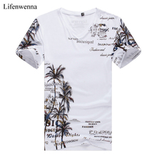 Buy 2017 Summer Men's T-shirt New Fashion Coconut Island Printing T Shirt Men V Neck Short Sleeve Slim Fit Casual Mens Tee Shirt 5XL for $12.59 in AliExpress store
