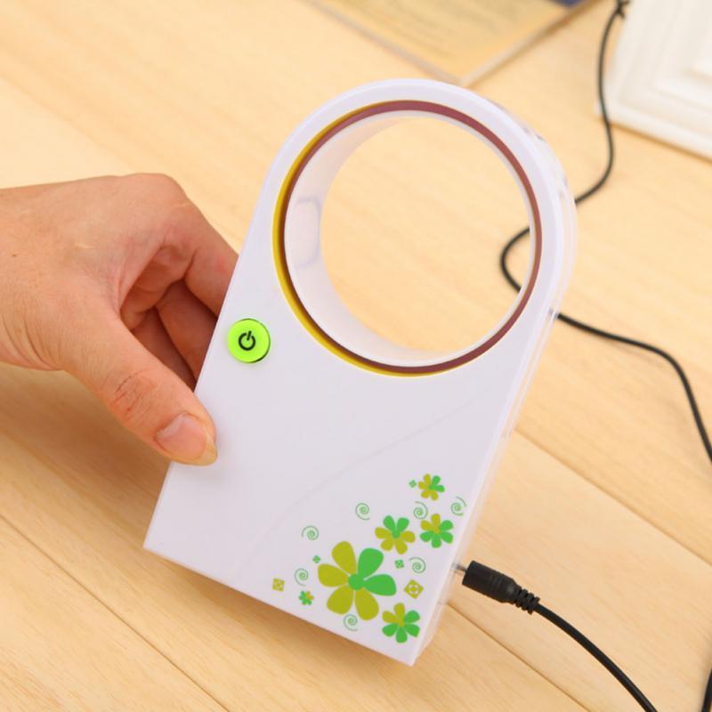 High Quality Cute No Leaf Bladeless Mini PortableUSB Gadgets Fan Refrigeration Desktop Air Conditioner USB Desktop Bladeless Fan(China (Mainland))